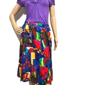 Women's Vintage colorful flare skirt size 12